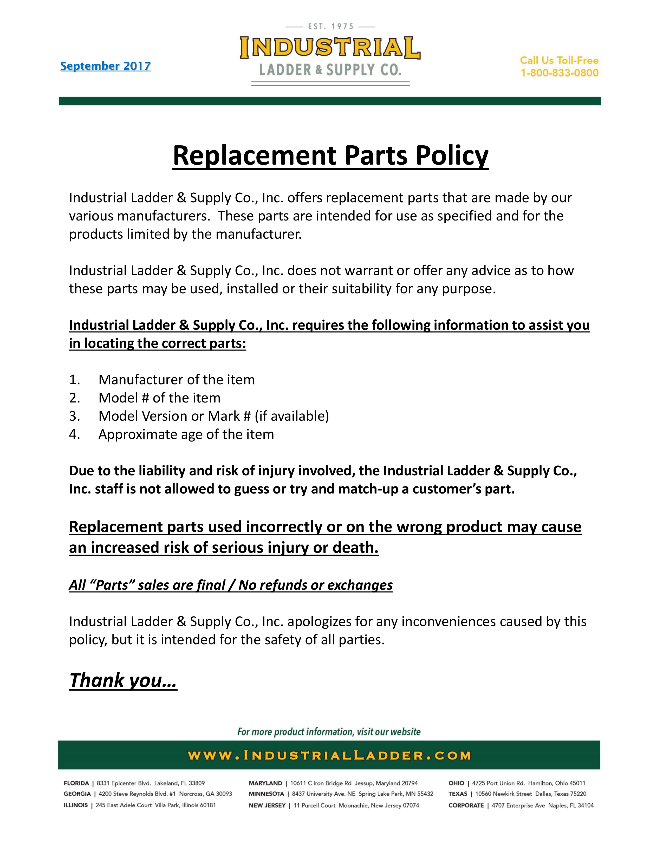 Industrial Ladder & Supply Co. Parts Policy